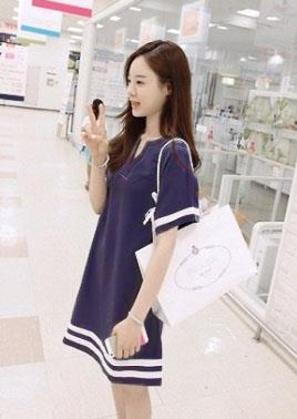 Loose V Pure Cotton Dress (Dark Blue)