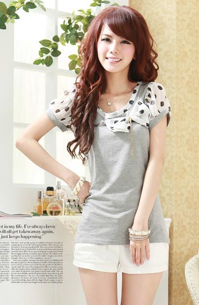 Lovely Dot-dot Ribbon Blouse-Grey 12622