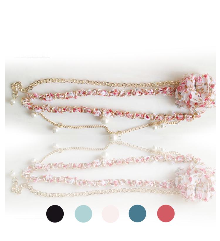 Lovely Floral Pearl Belt Chain 15508