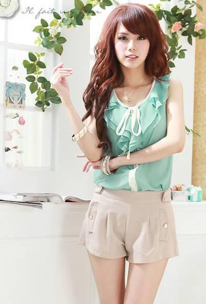 Lovely Flouncing Ribbon Blouse-Green 12611