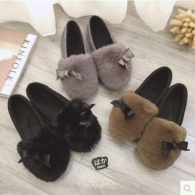 Lovely fur rosette extra velvet fashion flat sandal