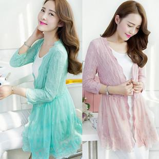 Lovely Hollow Lace Knit Long-sleeve Jacket (Many Colour)