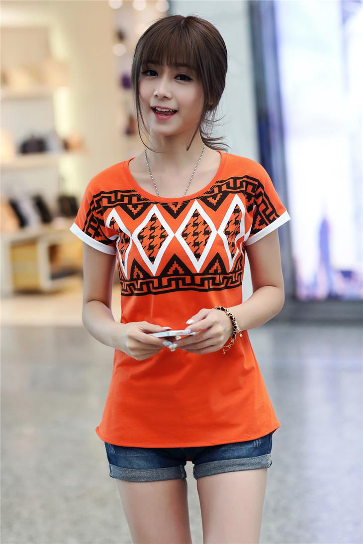 Lovely Houndstooth Printing Blouse (Orange)