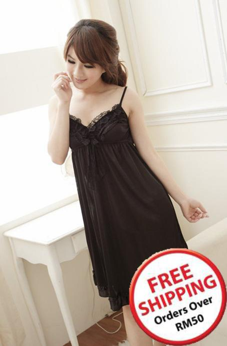 Lovely Lace-side Sexy Lingrie (Black) ~ 14498-Black