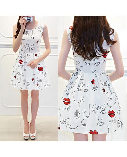 Lovely Lip Printing Show-slim Dress (White)