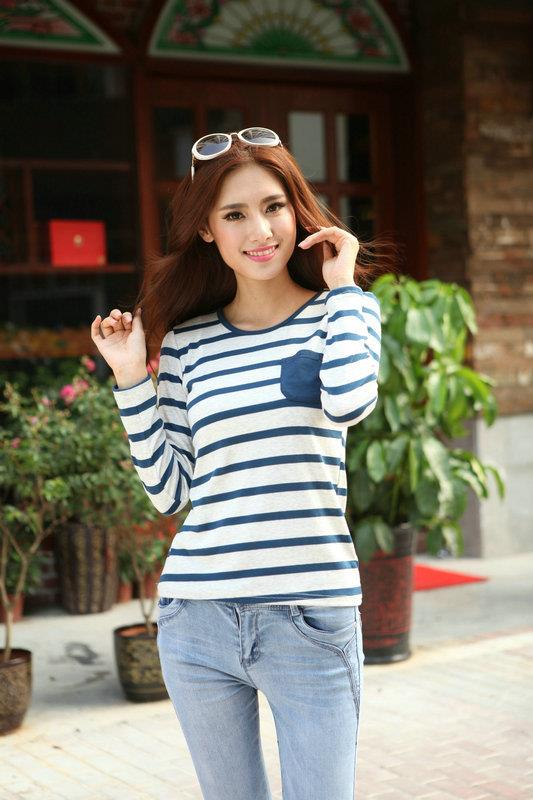 Lovely Loose-Stripe Long-sleeve Blouse (Blue)