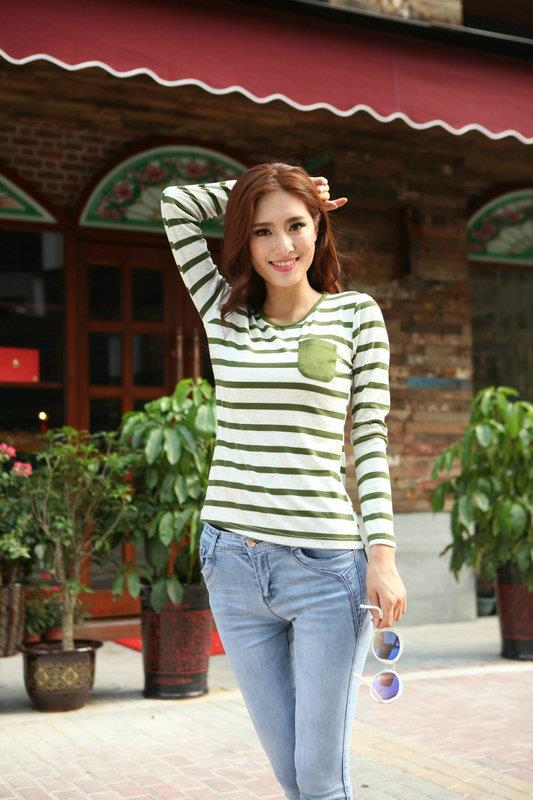 Lovely Loose-Stripe Long-sleeve Blouse (Green)