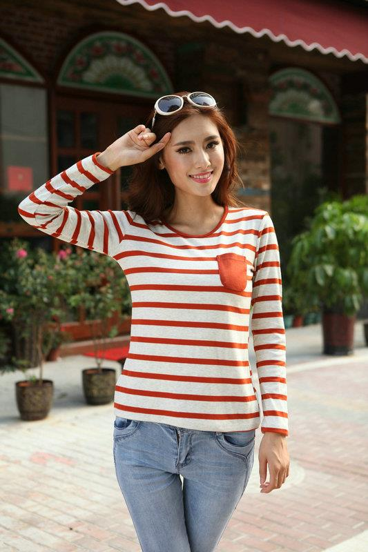 Lovely Loose-Stripe Long-sleeve Blouse (Orange)