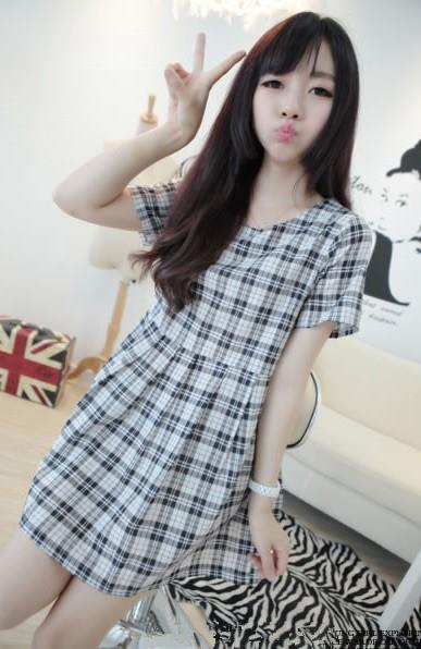 Lovely Plaid Dress 14936 (Black White)