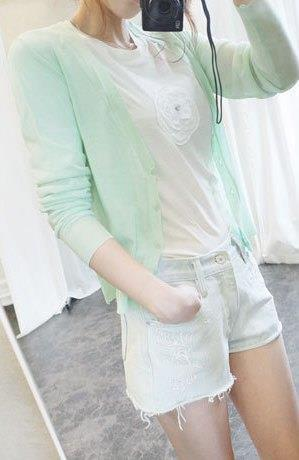 Lovely V Long-sleeve Thin Knit Jacket (Cyan)