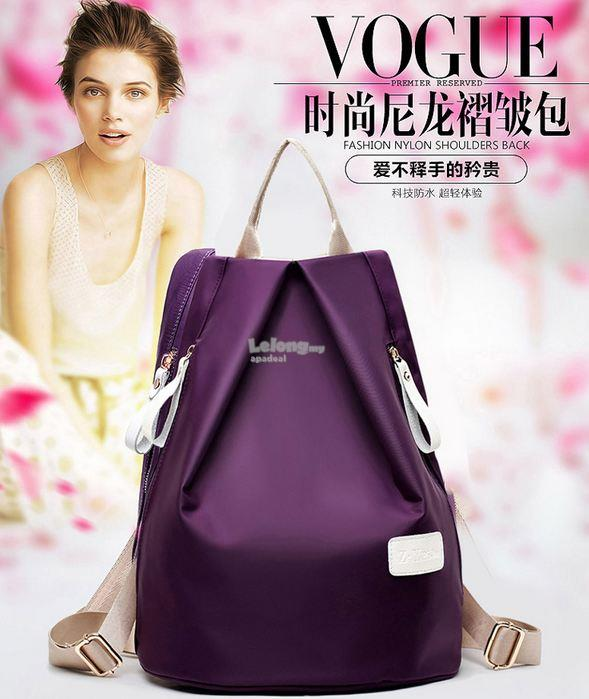Lovely Women Nylon Package Bags and Backpack - 3 Pcs