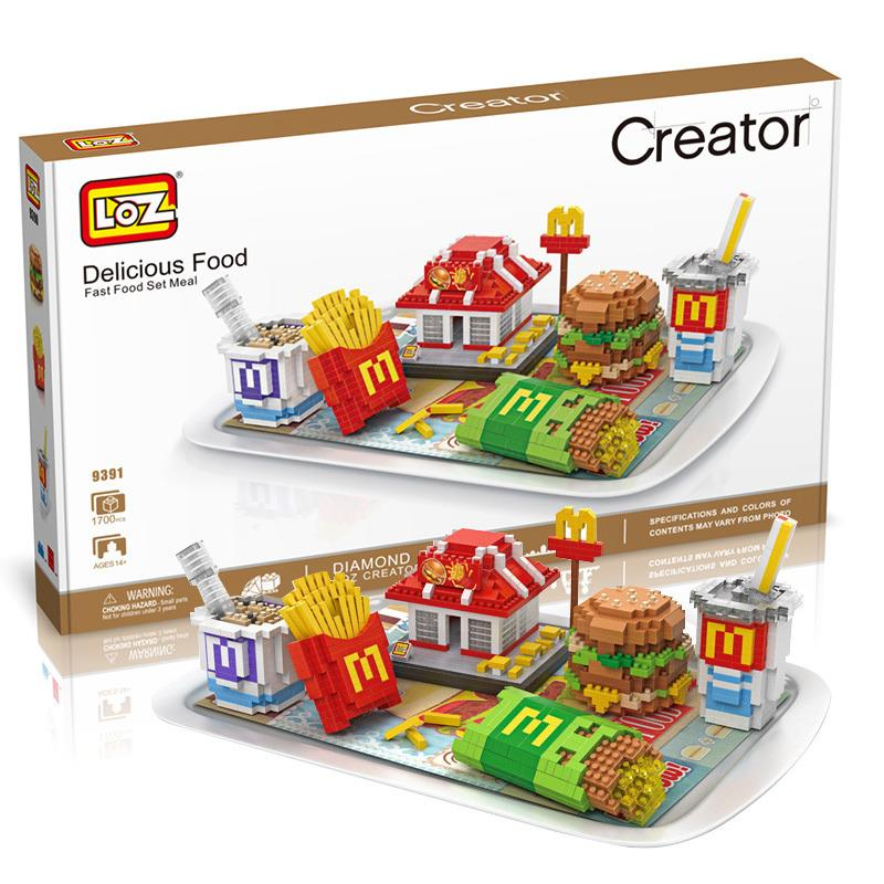 Loz (Lego Bricks Compatible) Child 9391 Fast Food Set Meal (1700pcs)