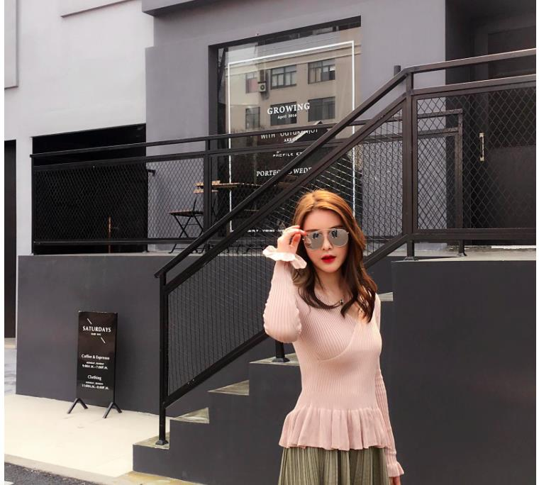 LUVVIESTYLE - Korea Charming Knit Top 7317