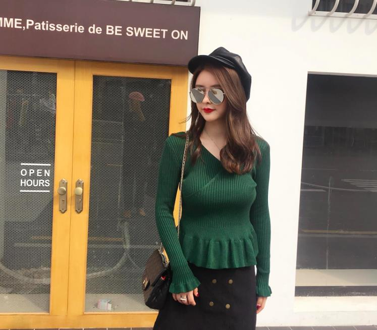 LUVVIESTYLE - Korea Charming Knit Top Green 7317