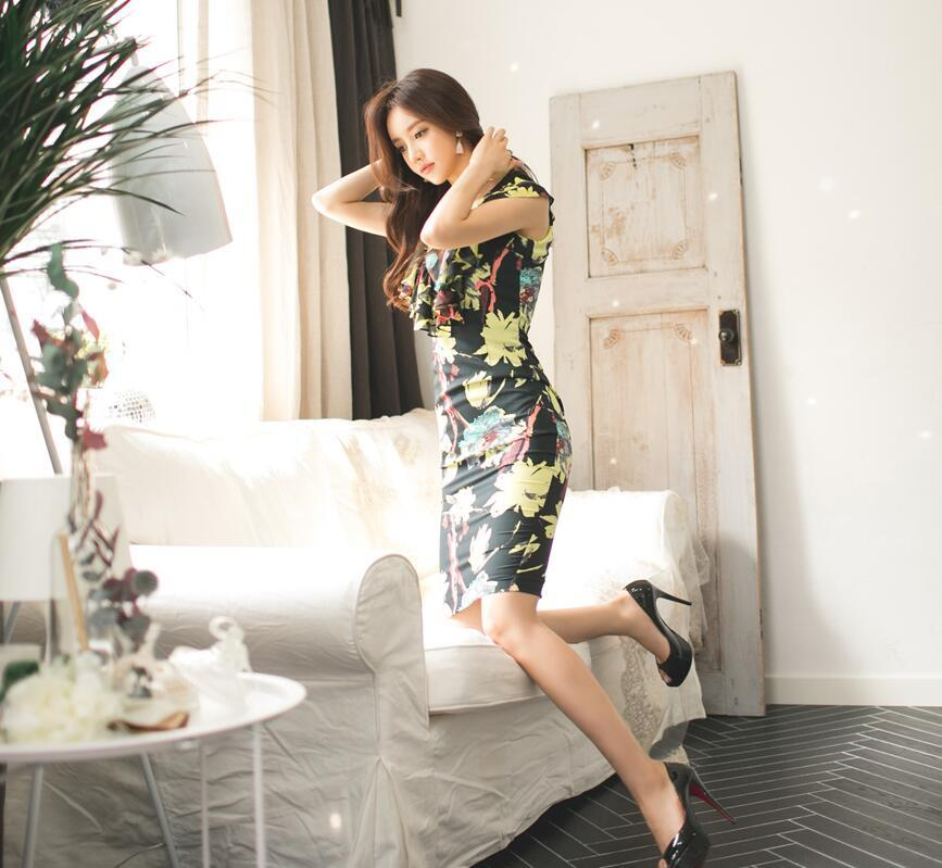 LUVVIESTYLE - Korea Flora Printed Dinner Dress Black D218793