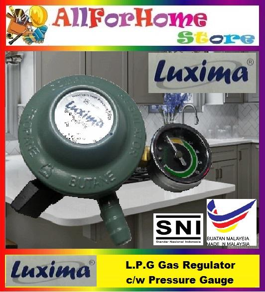 LUXIMA L.P.G Gas Regulator c/w Pressure Gauge