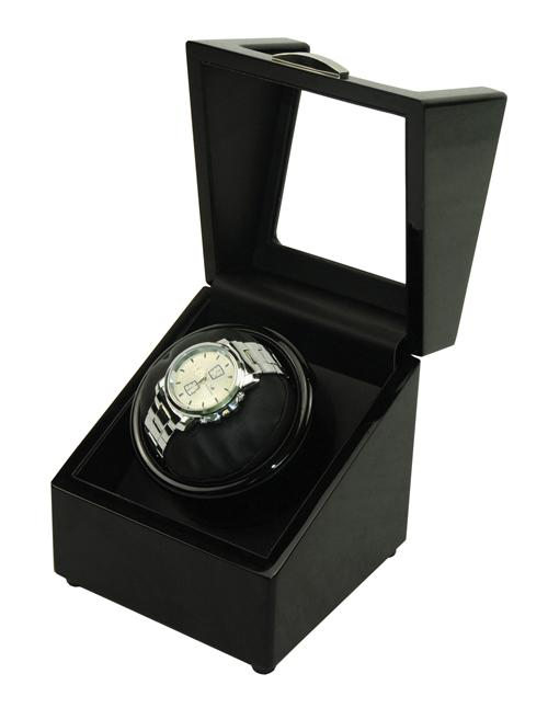 Luxury High Gloss Wooden Watch Winder 1 Slot with 4 Programs (Black)