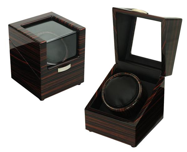 Luxury High Gloss Wooden Watch Winder 1 Slot with 4 Programs (Ebony)