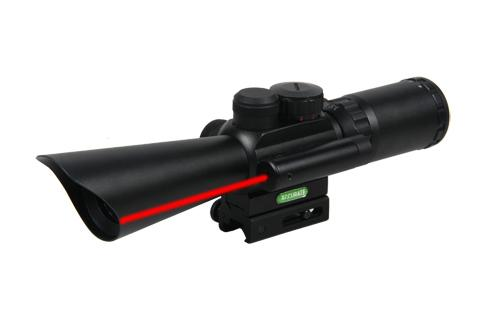 M8 3.5-10X40E Rifle Scope 20mm Base with Red Laser Sight