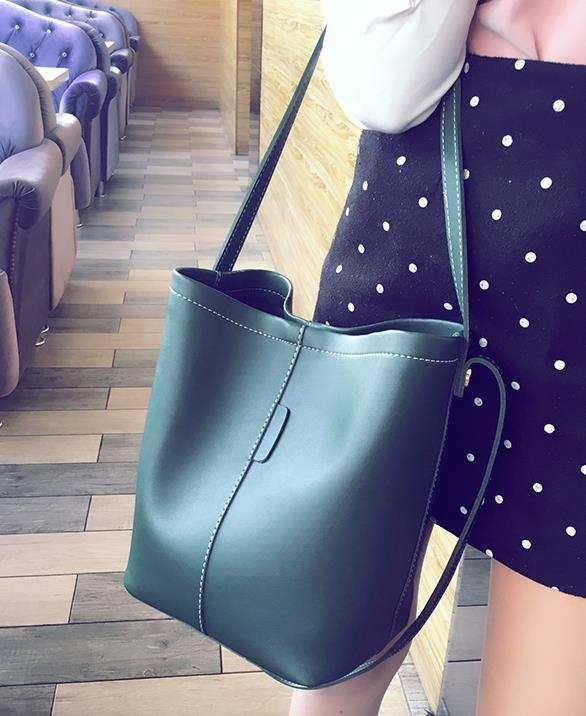 MABLE FASHION Korean Style 2 in 1 Large Capacity Bucket Shoulder Bag