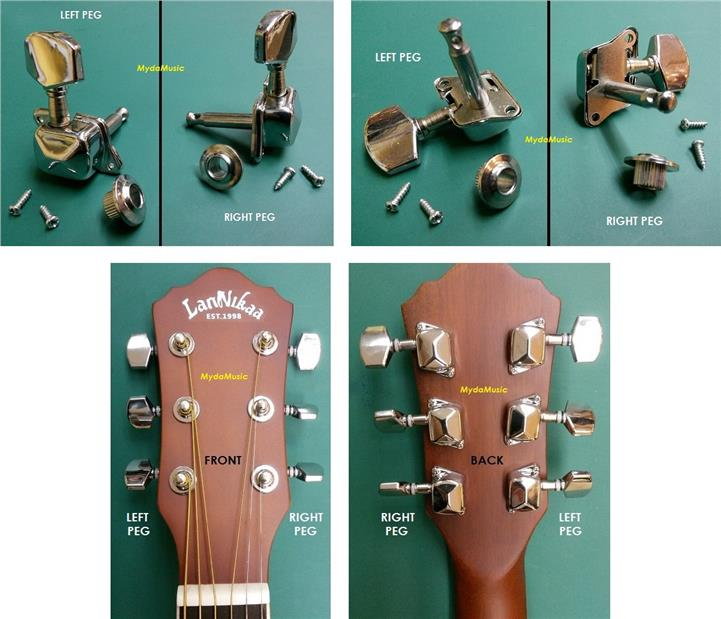 Machine Head Tuning Pegs For Acoustic Guitar. Gitar