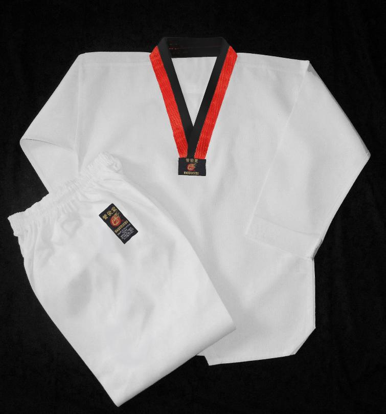 Maddockdo Brand Taekwondo WTF Poom (Red & Black) Belt Uniform