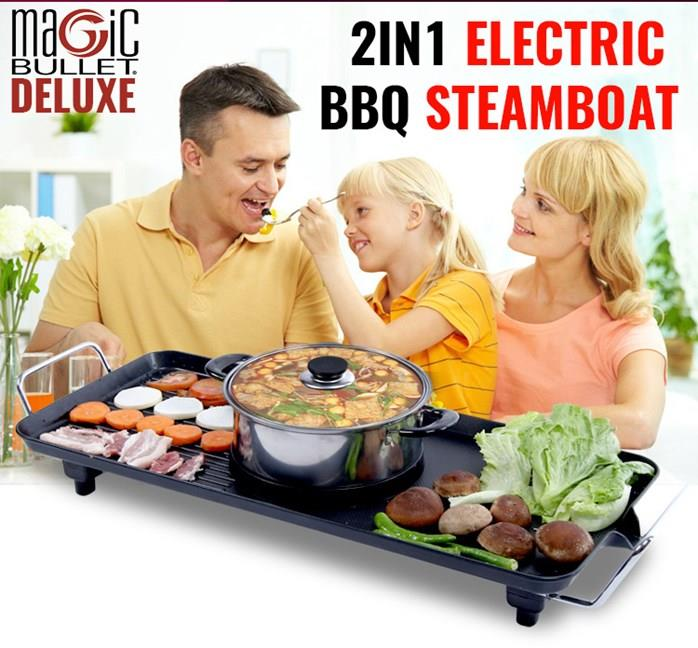 Magic Bullet Deluxe 2 In 1 Electric BBQ Grill and Steamboat