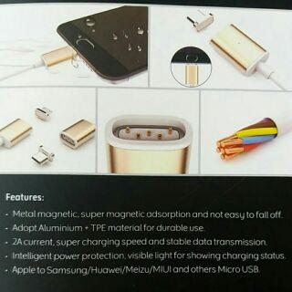 Magnetic Lightning & Micro USB charging cable 1 meter