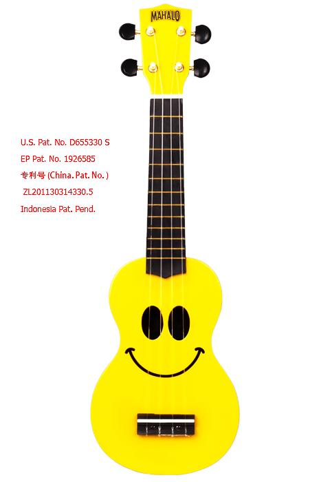 Mahalo Yellow Smiley Soprano Ukulele U/Smile FREE Bag
