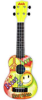 Makala Ukadelic Soprano Ukulele PEACE AND LOVE Design