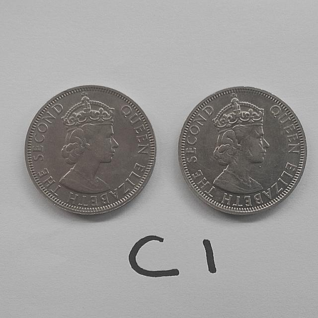 Malaya coins Queen 1961, 1961H 50 cents 2 pcs vf C1