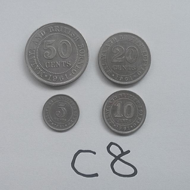 Malaya coins Queen 1961 50 20 10 5 cents 4 pcs vf C8