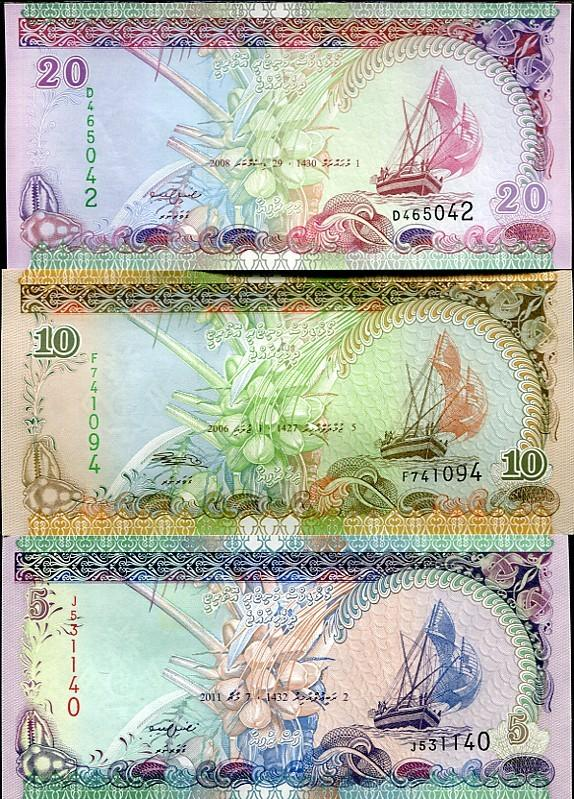 MALDIVES 3 PCS 5 10 20 RUFIYAA 2006-2011 P NEW unc