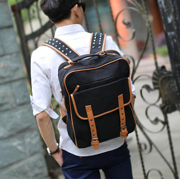 Male Korean outdoor travel rivets canvas backpack
