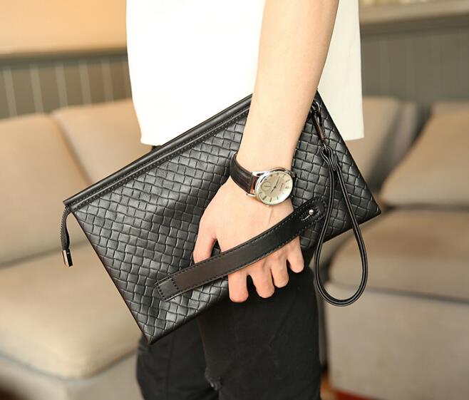 The new male woven texture envelope bag