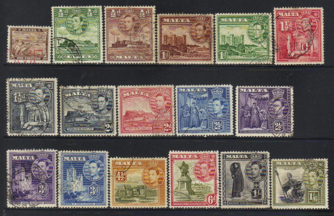 MALTA KGVI 1938-1943 DEFINITIVES USED CAT £10+ BJ207