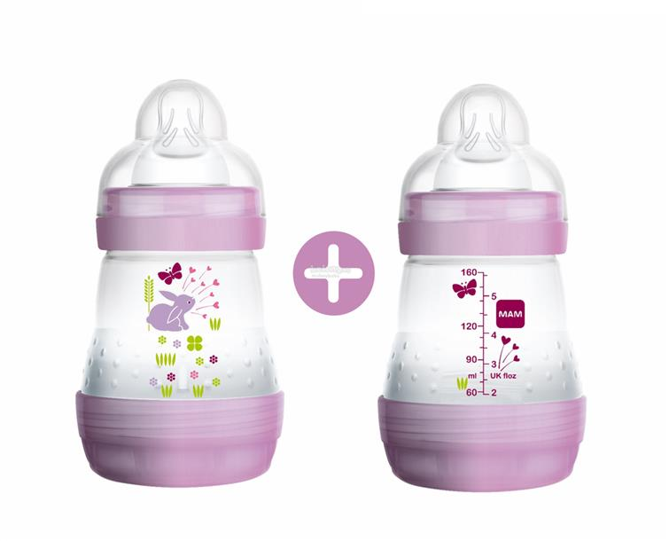 MAM Anti-Colic Bottle 160ml Twin Pack (Silk Teat size 1) Purple