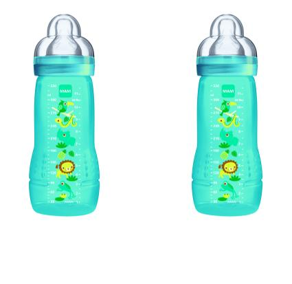 MAM Baby Feeding Bottle 330ml - Double Pack Green