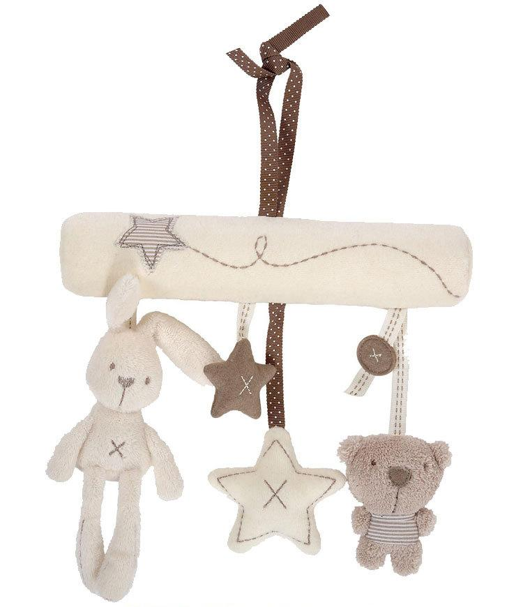 mamas&papas cot hanging toy baby rattle toy soft plush rabbit musical