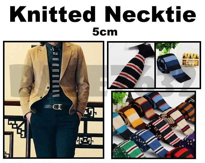 Man Men  Knitted Neck Tie Knit Necktie Slim Skinny Stripe Stripes