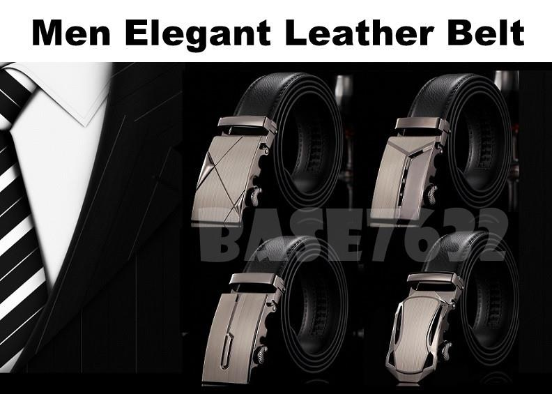 Man Men  Male Black Elegant Stylish Leather Automatic Buckle Belt