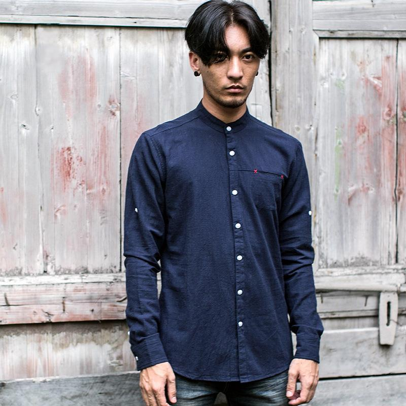 Mandarin Collar Cotton Linen Long Sleeve Shirt (FM003)