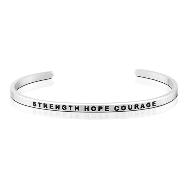 MantraBand Strength Hope Courage Silver Bracelet