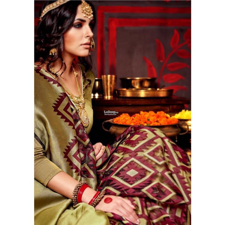 Maroon - Golden Print Work Designer Saree - Diwali Collection New for