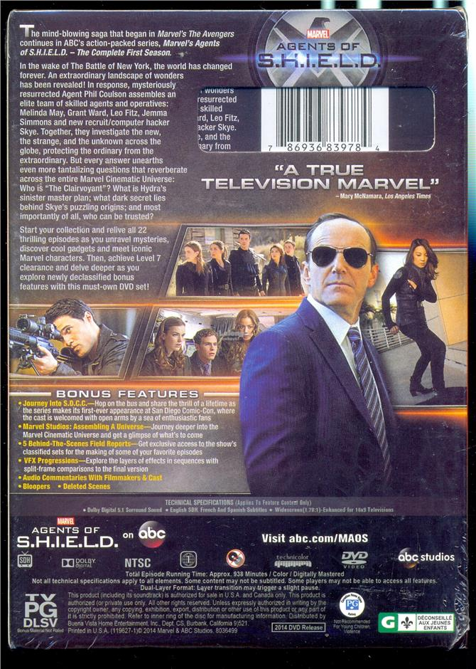 Marvel's Agents Of  S.H.I.E.L.D. The Complete First Season - New DVD