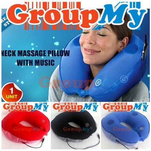 Massage Music Total Pillow MP3 Speaker U Neck Rest Travel