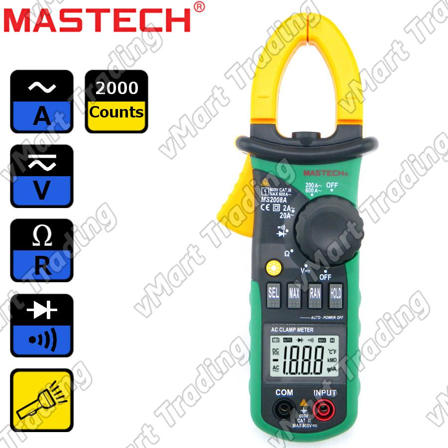 Mastech MS2008A AC Current Clamp Multimeter with Torchlight