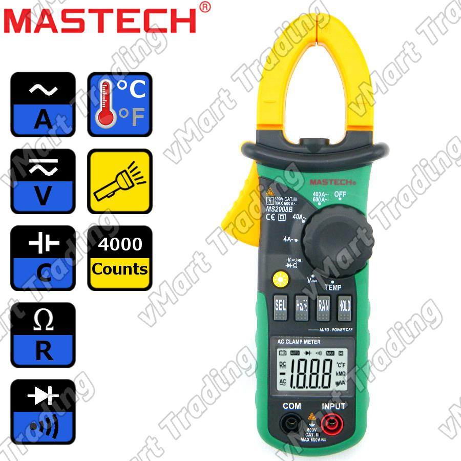 Mastech MS2008B AC Current Clamp Multimeter with Torchlight