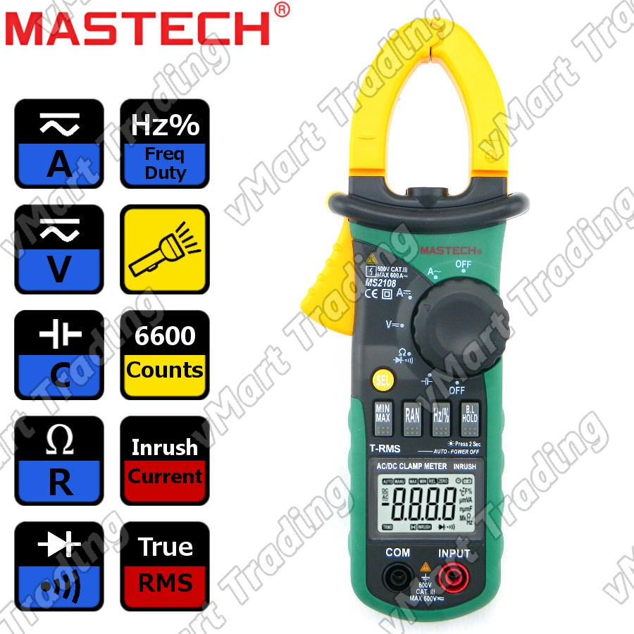 Mastech MS2108 True RMS Digital AC/DC Clamp Multimeter