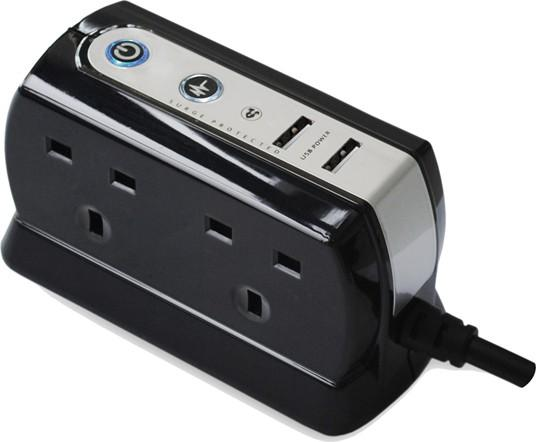 MASTERPLUG 4-SOCKET WITH 2 USB SURGE PROTECTOR 2M, SRGDU42PB-MP